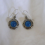 Vintage Sterling Silver Drop Blue Stone Earrings by Jolaine