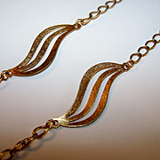 Extra Long vintage Gold tone necklace