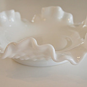 Fenton Art Glass Hobnail Milk Glass bon bon Dish