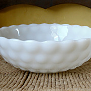 Anchor Hocking Bubble Pattern Milk Glass Bowl