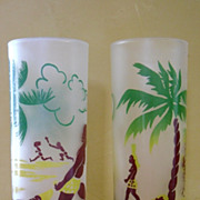 SALE Satin Glass Polynesian tumblers by Federal
