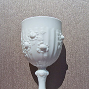 Rare Fenton Rose Pattern Milk glass Goblet