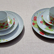 Vintage 1974 Mann Strawberry Hill Fine China Place Settings for 2