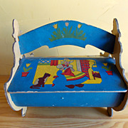 SALE Vintage Children's Dutch Girl Sewing Caddy