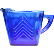 Ritz Blue Hazel Atlas Creamer,  'Chevron' Pattern