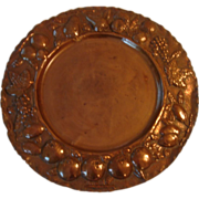 Copper Charger/Platter, Repoussee  Fruit/Leaf Border, Signed