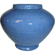 1930's Studio Art Pottery Vase, Artist Henry Graack, Blue Glaze