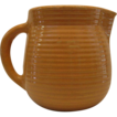 1930's Yellow Ware Pitcher, Yellow Glaze, Embossed Ribbing