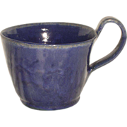SALE J.B. Cole Pottery Mug, Cobalt Blue, Signed Nell Cole Graves