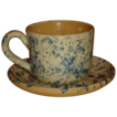French Country Yellow Ware Cup & Saucer, Blue Spattered Pattern