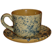 SALE French Country Yellow Ware Cup & Saucer, Blue Spattered Pattern