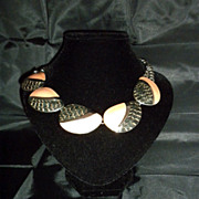 Trifari Matsumoto Design 80' Enamel Necklace earrings set Parure