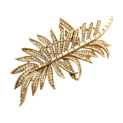 TRIFARI Giant Rhinestone Leaf Pin Brooch