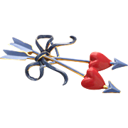 Coro amazing Cupid Hearts and Arrows Pin Brooch Huge !