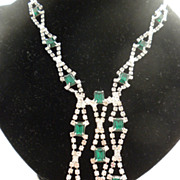 Hobe Green Rhinestone Collar Necklace