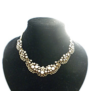 Florenza 1960 rhinestone and faux pearls Necklace