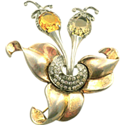 Boucher MB unsigned Birds on Flower pin Brooch
