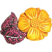 S.FRIEDMAN N.Y. carved Bakelite Flower with Rhinestones leaves Clip Pin Brooch