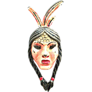 CORO 1942 American Indian girl enamel Fur Clip Pin Brooch