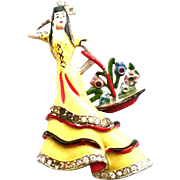 CORO 1930 mark Spanish Lady with the swinging basket Book Piece
