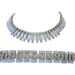 Vintage Pale Blue Moonstones and Rhinestones Necklace and Bracelet Demi Parure