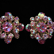 Dazzling Vintage Watermelon AB Rhinestone Earrings