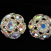 SALE Vintage Sarah Coventry Rhinestone and Gold Tone Earrings