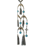 Vintage Long and Dangling Turquoise Glass & Silver Tone Tassels Necklace
