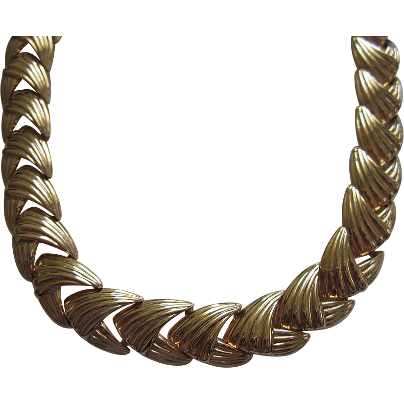 Vintage Napier Chunky Gold Tone Necklace
