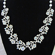 Vintage Coro White Enamel Flowers with AB Rhinestones Necklace
