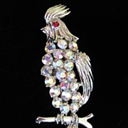 SALE Vintage Rhinestone Bird Figural Brooch Pin; Cockatoo Signed BSK