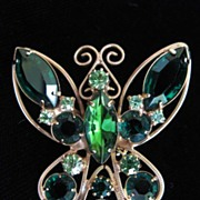 SALE Vintage Rhinestone Butterfly Figural Brooch Pin ; Shades of Green