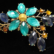REDUCED Vintage Rhinestone Flower Signed LC