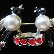 REDUCED Vintage Coro Enamel and Faux Pearl Love Birds Brooch Pin