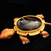 SALE Vintage Enamel and Glass Turtle Figural Brooch Pin