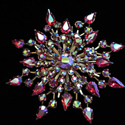 Vintage Starburst AB Rhinestone Brooch Pin