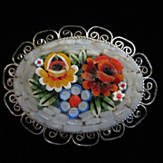Vintage Micromosaic Floral Pin Brooch