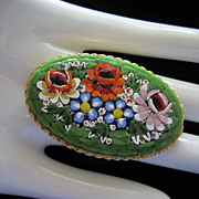 Vintage Large Italian Micromosaic Floral Brooch Pin