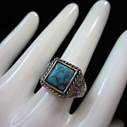 Vintage Faux Turquoise & Silver Tone Adjustable Ring