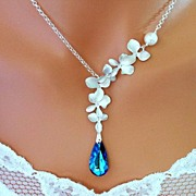 Bermuda Blue Orchid Necklace Swarovski Simulated White pearl Sterling Silver