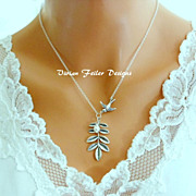 Bird Necklace Pearl Branch Leaf Bridesmaid Gift Wedding Jewelry