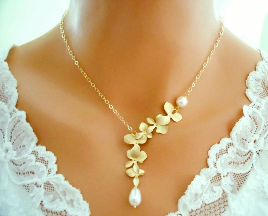 Orchid Necklace White Pearl 14K Gold Filled Wedding Bridal Bridesmaid