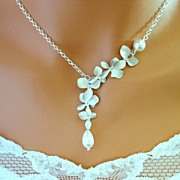 Orchid necklace Sterling Silver White or Ivory simulated Pearl  Wedding Jewelry, bridal, bride