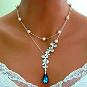 PEACOCK ORCHID Double Strand Necklace Wedding Bridal Bermuda Blue Sterling Silver Bridal