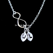 Infinity Necklace Personalized Initials Sterling Silver Love Couple