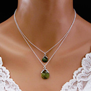 Green Necklace Double Strand Sterling Silver Oliven Swarovski Crystal Bridesmaid Wedding jewel