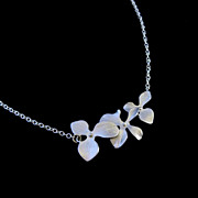 Orchid Necklace Sterling Silver Bridesmaid Gift Wedding Jewelry
