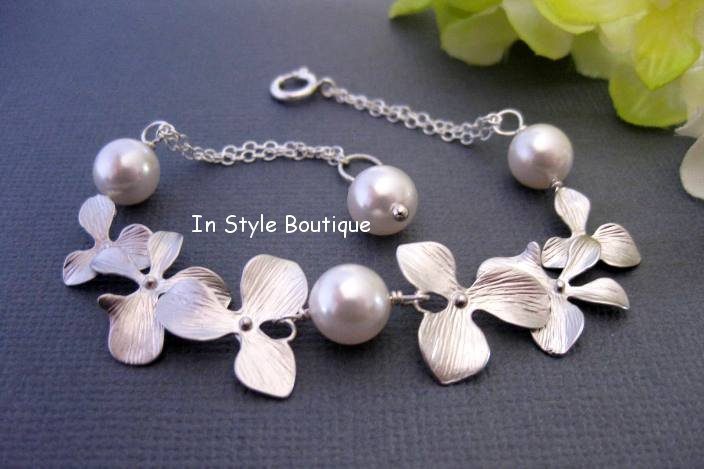 Orchid Bracelet Bridal Pearl Bracelet Wedding Jewelry