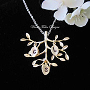 Family Tree Necklace Tree of Life Jewelry Personalized Initial Charm