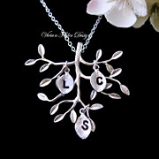 Tree of Life Necklace Family Tree Personalized Jewelry Silver Initial Charm